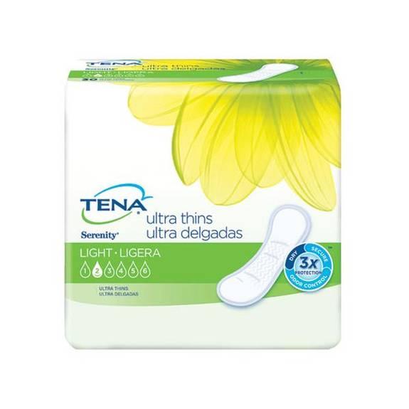 "TENA Serenity Ultra Thin Light Absorbency Pads 9"" Part No. 46500 Qty  Per Case"