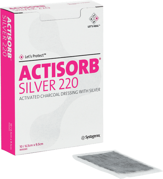 """Actisorb Silver Antimicrobial Dressing 2-1/2"""" X 3-3/4"""" Part No. 650220 (10/package)"""