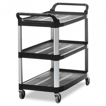 Open Sided Utility Cart, Three-shelf, 40.63w X 20d X 37.81h, Black