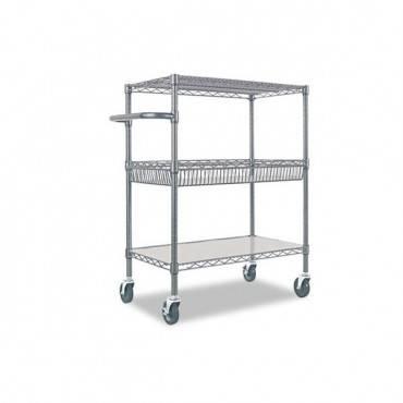 Three-tier Wire Cart With Basket, 34w X 18d X 40h, Black Anthracite