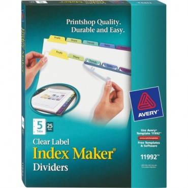 Avery® Index Maker Print & Apply Clear Label Dividers with Contemporary Color Tabs (BX/BOX)