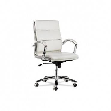 Alera Neratoli Mid-back Slim Profile Chair, White Faux Leather, Chrome Frame