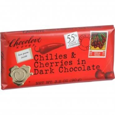 Chocolove Xoxox - Premium Chocolate Bar - Dark Chocolate - Chilies And Cherries - 3.2 Oz Bars - Case Of 12