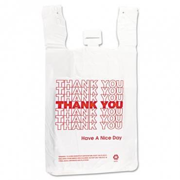 "Hdpe T-shirt Bags, 14 Microns, 12"" X 23"", White, 500/carton"