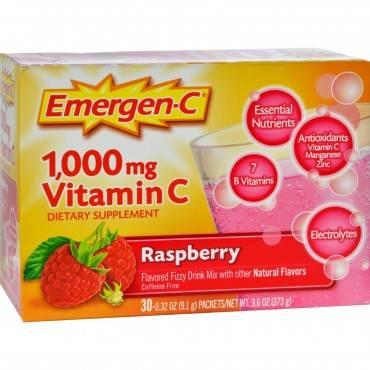 Alacer - Emergen-c Vitamin C Fizzy Drink Mix Raspberry - 1000 Mg - 30 Packets