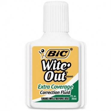 BIC Extra Coverage Wite-Out Brand Correction Fluid (DZ/DOZEN)