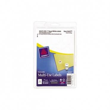 "Removable Multi-use Labels, Inkjet/laser Printers, 1"" Dia., White, 12/sheet, 50 Sheets/pack"