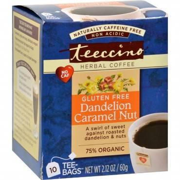 Teeccino Coffee Tee Bags - Organic - Dandelion Caramel Nut Herbal - 10 Bags
