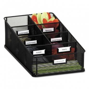 Onyx Breakroom Organizers, 7 Compartments, 16 X8 1/2x5 1/4, Steel Mesh, Black