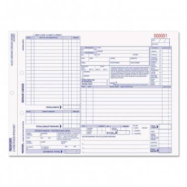Four-part Auto Repair Form, 11 X 8 1/2, Four-part Carbonless, 50 Forms