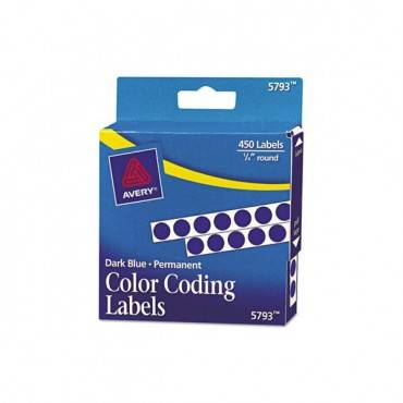 "Handwrite-only Self-adhesive Removable Round Color-coding Labels In Dispensers, 0.25"" Dia., Dark Blue, 450/roll"