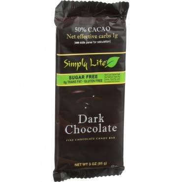 Simply Lite Chocolate Bar - Dark Chocolate - 50 Percent Cacao - 3 oz - Case of 10