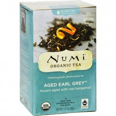 Numi Aged Earl Grey Bergamot Black Tea - 18 Tea Bags - Case of 6