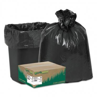 "Linear Low Density Recycled Can Liners, 10 Gal, 0.85 Mil, 24"" X 23"", Black, 500/carton"
