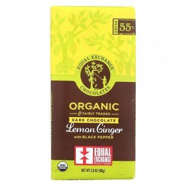 Equal Exchange Organic Dark Chocolate Lemon Ginger With Black Pepper - Lemon Ginger - Case Of 12 - 2.8 Oz.
