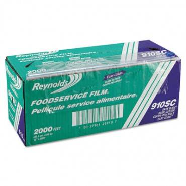 "Pvc Food Wrap Film Roll In Easy Glide Cutter Box, 12"" X 2000 Ft, Clear"