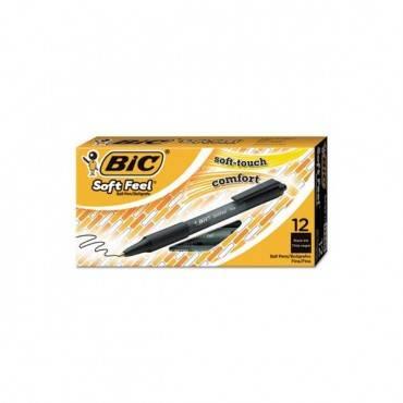 Soft Feel Retractable Ballpoint Pen, Fine 0.8mm, Black Ink/barrel, Dozen