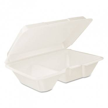 Hinged Lid Carryout Container, White, 9 1/3 X 2 9/10 X 6 2/5, 100/bg, 2 Bg/ct