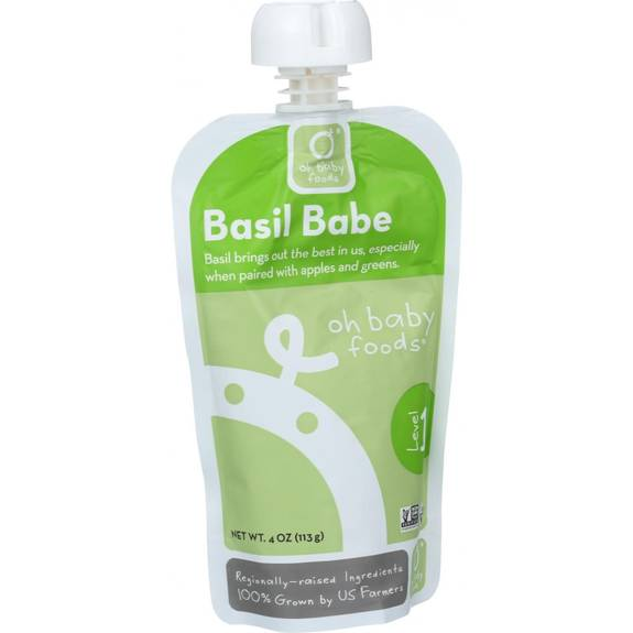 Oh Baby Foods Organic Baby Food Puree Level 1 Basil