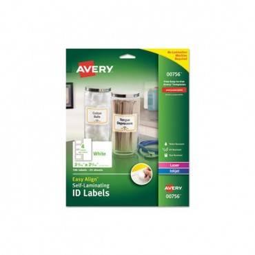 Easy Align Self-laminating Id Labels, Laser/inkjet, 2 15/16 X 3 5/16, White, 100