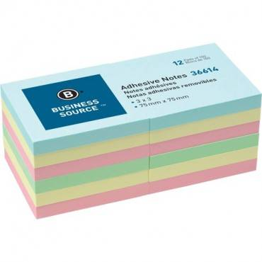 "Business Source 3"" Plain Pastel Colors Adhesive Notes (PK/PACKAGE)"
