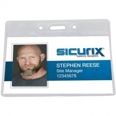 SICURIX Vinyl Punched ID Badge Holders - Horizontal (PK/PACKAGE)