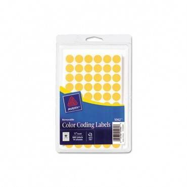 """Handwrite Only Self-adhesive Removable Round Color-coding Labels, 0.5"""" Dia., Neon Orange, 60/sheet, 14 Sheets/pack"""