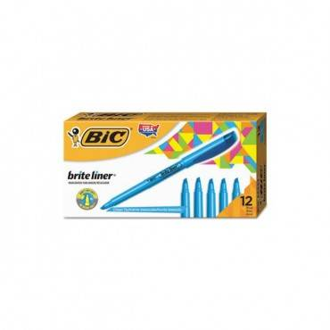 Brite Liner Highlighter, Chisel Tip, Fluorescent Blue, Dozen