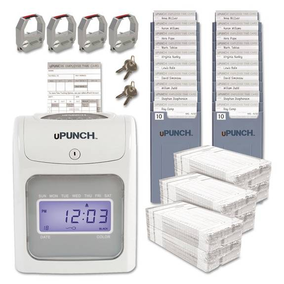 upunch hn4600 electronic calculating time clock bundle