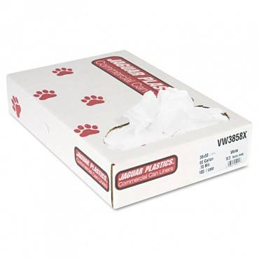 """Industrial Strength Low-density Commercial Can Liners, 60 Gal, 0.7 Mil, 38"""" X 58"""", White, 100/carton"""