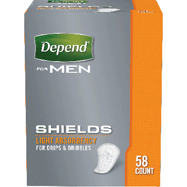 Depend shields for men light absorbency, one size fits most part no. 35641 (58/package)