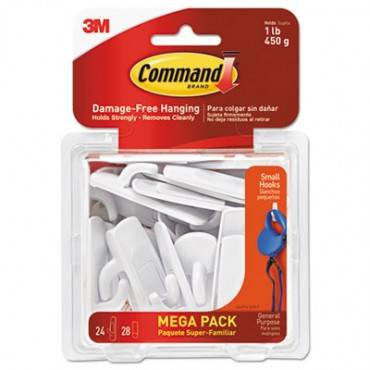 General Purpose Hooks, Small, 1 Lb Cap, White, 24 Hooks And 28 Strips/pack