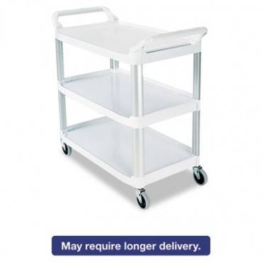 Open Sided Utility Cart, Three-shelf, 40.63w X 20d X 37.81h, Off-white
