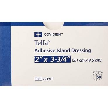 "Telfa Adhesive Island Dressing 2"" X 3-3/4"" Part No. 7539lf (50/box)"