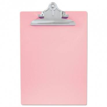 "Recycled Plastic Clipboard With Ruler Edge, 1"" Clip Cap, 8 1/2 X 12 Sheets, Pink"