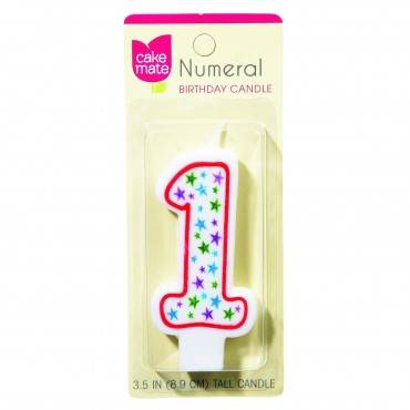 Cake Mate - Birthday Party Candle - Numeral - 1 - 3 In - 1 Count - Case Of 6