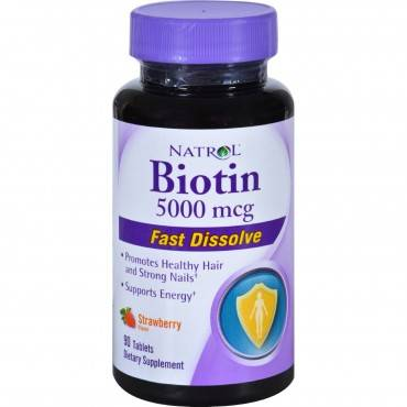Natrol Biotin - Fast Dissolve - Strawberry - 5000 Mcg - 90 Tablets
