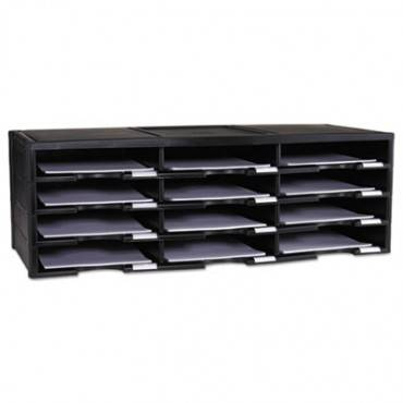Storex Literature Organizer, 12 Section, 10 5/8 X 13 3/10 X 31 2/5, Black