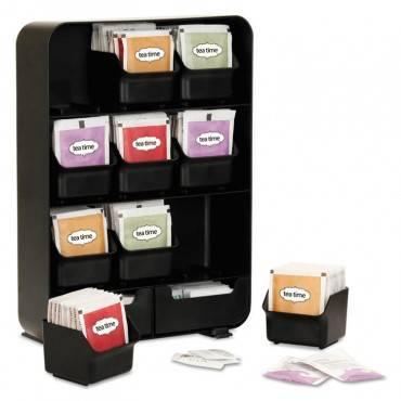 Baggy Nine-drawer Tea Bag And Accessory Holder, Black, 10.24 X 4.33 X 13.11