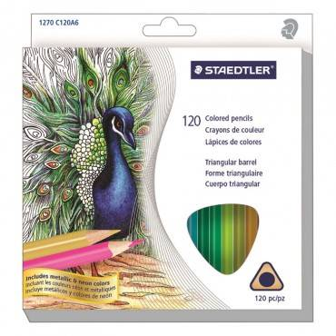 Staedtler  TRIANGULAR COLORED PENCIL SET, SOFT, ASSORTED LEAD, 120/SET 1270C120A6 1 Set