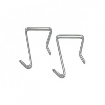 Single Sided Partition Garment Hook, Silver, Steel, 2/pk