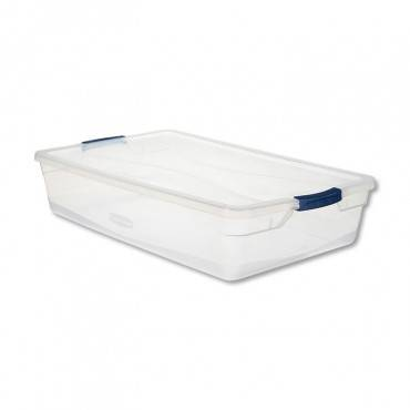 Rubbermaid  CLEVER STORE BASIC LATCH-LID CONTAINER, 17 3/4W X 29D X 6 1/8H, 41QT, CLEAR RMCC410001 1 Each