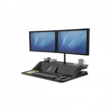 Lotus Sit-stand Workstation, 32 3/4 X 24 1/4 X 5 1/2 To 22 1/2, Black