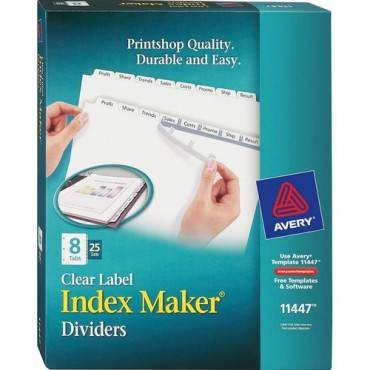 Avery® Index Maker Print & Apply Clear Label Dividers with White Tabs (BX/BOX)