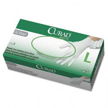 Curad  3g Synthetic Vinyl Exam Gloves, Powder-Free, Large, 100/Box