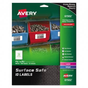 Avery  SURFACE SAFE ID LABELS, INKJET/LASER, 1 5/8 X 3 5/8,WHITE,12/SHEET, 25 SHEETS/PK 61502 300 package