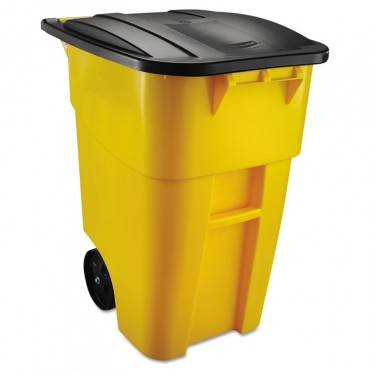 Brute Rollout Container, Square, Plastic, 50 Gal, Yellow