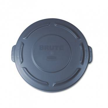 """Flat Top Lid For 20 Gal Round Brute Containers, 19.88"""" Diameter, Gray"""