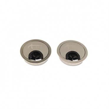 Alera Valencia Series Optional Grommets, 2-5/8 Diameter, Silver Metal, 2/pack