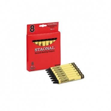 Staonal Marking Crayons, Black, 8/box